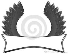 Image representing a label with stylized wings. An image that can be used for various projects, from the most elegant to the coolest.