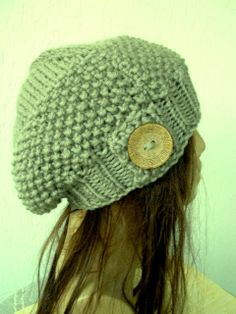 Slouchy beanie hat  Ligth  Khaki green   womens teen by Ebruk, $35.00