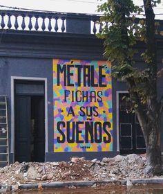 tanoveronMÉTALE FICHAS A SUS SUEÑOS.  3,5 x 2 mt.  gracias @carofucci por donar el frente. Calle 23 entre 20 y 22. en Mercedes, el lugar donde nací. Otro más que queda para la gente.  Gracias @coquezion por el aguante de siempre.  A sacarse fotos mercedinxs.  #tanoveron #metalefichasasussueños #streetart #mural Broadway Shows, Signs, Instagram, Note Cards, Street, Thanks, Dibujo, Creativity, Artists