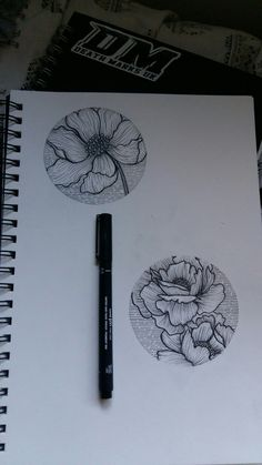 Poppy and peony floral circle tattoo design