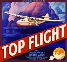 Tustin Top Flight Airplane Orange Citrus Fruit Crate Label Art Print in Collectibles, Advertising, Merchandise & Memorabilia | eBay