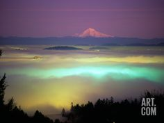 Willamette River Valley in a Fog Cover, Portland, Oregon, USA Photographic Print by Janis Miglavs at Art.com
