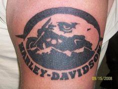 Black Ink Harley Davidson Bike Tattoo Design   Tattoobite.com