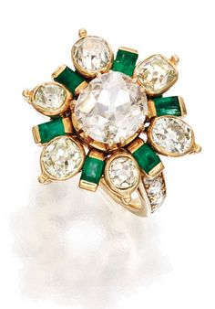 GOLD, DIAMOND AND EMERALD RING, RENÉ BOIVIN, FRANCE Centering an old mine-cut diamond weighing approximately 2.25 carats, framed by six smaller old mine-cut diamonds weighing approximately 3.00 carats, spaced by six baguette emeralds, the mounting further accented by round and old European-cut diamonds weighing approximately .60 carat,  signed René Boivin, with French assay mark; circa 1940.
