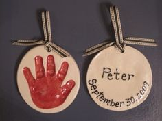 Hand Print Ornament - Click image to find more Holidays & Events Pinterest pins