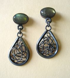 Blackened Silver and Labradorite  by Anna Vosburg Design