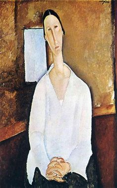"Amedeo Modigliani : ""Madame Zborowska with clasped hands "" , 1917 , oil on canvas cm , Private Collection . She married Léopold Zborowski after her arrival in Paris in 1914 . Amedeo Modigliani, Modigliani Paintings, Italian Painters, Italian Artist, Pablo Picasso, Atelier D Art, Famous Artists, Oeuvre D'art, Figurative Art"