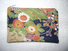 Silk Coin Purse or Small Cosmetic Bag from Repurposed Silk Kimono by KimonoBoro on Etsy