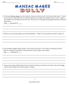 maniac magee task cards activities cards and teaching ideas maniac magee 32 page packet