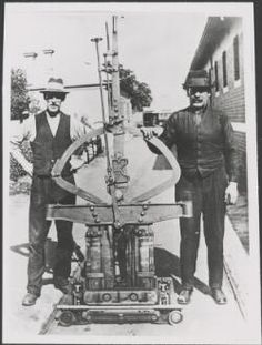 Two men with the grip mechanism of a cable tram, Melbourne, ca. Melbourne Tram, Melbourne Australia, Melbourne Victoria, Victoria Australia, Two Men, Old Photos, Cable, Museum, Spaces