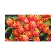Orange Tulip Flowers Arrangement Wrapped Canvas