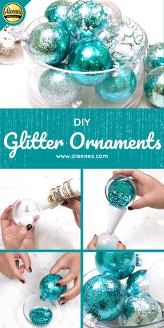 Aleene's Original Glues - DIY Glitter Ornaments: 3 Easy Techniques Christmas Balls Diy, Clear Christmas Ornaments, Glitter Ornaments, Christmas Ornaments To Make, Christmas Crafts For Kids, Xmas Crafts, Diy Ornaments, Felt Christmas, Homemade Christmas