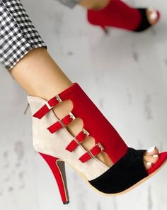 Colorblock Splicing Hollow Out Buckled Thin Heels Hollow Out Braided Platform Heels SandalsColorblock Peep Toe High-heeled SandalsContrast Color Buckled Thin Heeled Sandals Hot Shoes, Women's Shoes, Me Too Shoes, Shoe Boots, Ankle Boots, Jazz Shoes, Dress Shoes, Shoes Jordans, Sandals Outfit