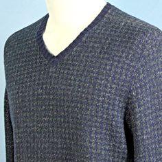 Polo Ralph Lauren Houndstooth V Neck Sweater Mens M Cotton Silk Blue Gray NICE #PoloRalphLauren #VNeck