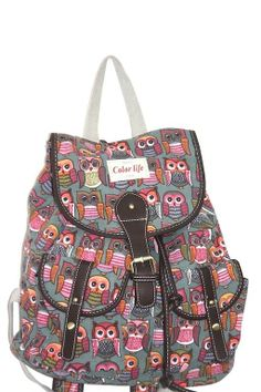 Backpack bag owl canvas color life satchel A4 student school bag casual use