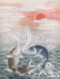 민화 분당민화 판교민화 취미미술 동아리 수능 합격기원 선물 승진선물 어변성룡도 등용문 어룡도 : 네이버 블로그 Korean Painting, Chinese Painting, Koi Fish Designs, Oriental, Koi Fish Tattoo, Japanese Landscape, Great Paintings, Japan Art, Fish Art