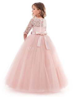 Flower Girl Dresses Soft Pink Kids Formal Dress Lace Half Sleeve Bows Tulle A Line Girls Pageant Party Dress Girls Lace Dress, Girls Formal Dresses, Dresses Kids Girl, Baby Dress, Dress Lace, Tulle Lace, Party Long Dress, Kids Gown, Pageant Dresses