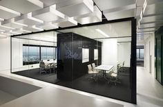 Office Interior Designs At Home And Corporate Beautiful Modern Black White Gles Wall Design Workwall Separates Two Meeting Rooms