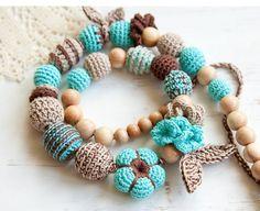 Boho style nursing necklace - teething necklace - juniper wood