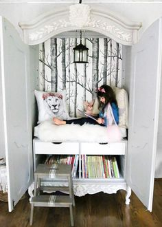 DIY Narnia Wardrobe Reading Nook | blesserhouse.com - A plain, thrifted armoire gets a sweet, fairytale-like makeover as a reading nook based on the story of The Lion, the Witch, and the Wardrobe. #playroom #readingnook