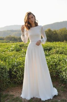 Chiffon wedding dress ANASTEISHA, long sleeves simple wedding dress with open b. - Chiffon wedding dress ANASTEISHA, long sleeves simple wedding dress with open back Chiffon Brautk - Top Wedding Dresses, Wedding Dress Chiffon, Country Wedding Dresses, Wedding Dress Trends, Lace Dresses, Modest Dresses, Simple Dresses, Prom Dresses, French Wedding Dress