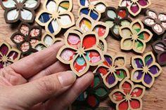 Custom Laser Cut Wood and Vintage Kimono Fabric. Custom Laser Cut Wood and Vintage Kimono Fabric Laser Cutter Ideas, Laser Cutter Projects, Cnc Projects, Laser Art, Laser Cut Wood, Laser Cutting, Laser Cut Fabric, Laser Cut Leather, Vintage Kimono