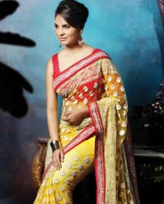 Blazing Yellow Sari by Lara Dutta Bollywood Designer Sarees, Indian Designer Sarees, Bollywood Saree, Bollywood Fashion, Saree Fashion, Women's Fashion, Ethnic Sarees, Indian Sarees, Lara Dutta