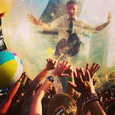 Diplo bubble-walking over UMF crowd.