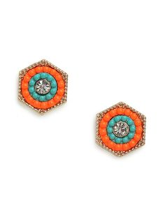Love the colors in these earrings!  Just check out that lovely floral motif, intricately crafted from luxe beading and crystals for a stained-glass-meets-Notre Dame allure.