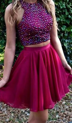 Two Pieces Beaded Short Prom Dresses,Short Homecoming Dresses,Homecoming #shortpromdresses
