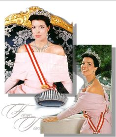 """Princess Caroline of Monaco here wears the Cartier tiara of her grandmother. In addition, she is wearing a """"Tiara Russe"""" as a necklace, which was formerly in the possession of Princess Charlotte of Monaco. Ray or fringe tiaras were around the turn of the twentieth century very much in fashion and are a variation of the Russian kokoschnik. When secured to a frame, they formed a glittering tiara but without this support they were a flexible necklace with an impressive ray effect. ROYAL MAGAZIN"""