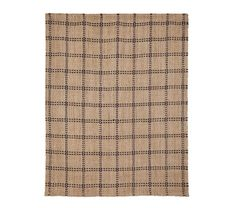 Natural plaid rug with navy stitching