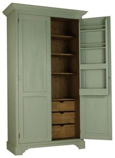 FREE STANDING KITCHEN LARDER with pull out drawers in base. storage on inside doors