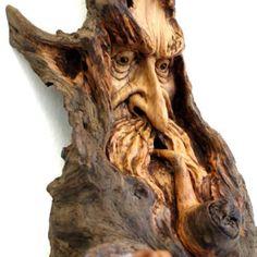 Driftwood art- Nancy Tuttle Driftwood Sculpture, Sculpture Art, Sculptures, Tree Carving, Wood Carving Art, Wood Carvings, Driftwood Crafts, Wooden Art, Green Man