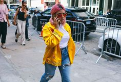 Marissa Smith in a vintage jacket, American Made Supply Company shirt, Moussy jeans, and Ray-Ban sunglasses