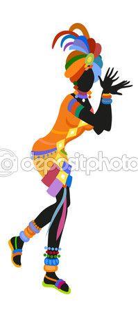 Mujer africana bailando — Vector de stock #121770624 Más
