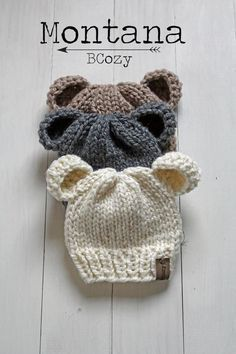 Baby Bear Hat Baby Bear Beanies Infant Newborn Knit Hat * baby bären mütze baby bären mützen neugeborenen strickmütze * bonnet bébé ours bonnet bébé ours bonnet bébé nouveau-né Newborn Knit Hat, Baby Hats Knitting, Crochet Baby Hats, Knitting For Kids, Knitting Projects, Knitted Hats, Newborn Hats, Crochet Toddler Hat, Knitted Baby Clothes