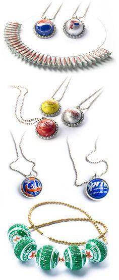 Bottle cap jewellery by Yoav Kotik