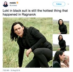 OMG YESSSS 😂 <<< uhhh xcuse u but have u seen Valkyrie in her fighting gear she and loki are the hottest couple in the whole mcu<<< there's a reason they call it the BIfrost ; Loki Meme, Loki Thor, Loki Laufeyson, Tom Hiddleston Loki, Tom Hiddleston Girlfriend, Funny Marvel Memes, Marvel Jokes, Dc Memes, Avengers Memes