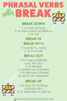 English Phrasal Verbs with break. Easy way to improve English speaking skills and English vocabulary. Phrasal verbs get. English Conversation Learning, English Learning Spoken, English Speaking Skills, Teaching English Grammar, English Writing Skills, English Vocabulary Words, Learn English Words, English Language Learning, English Study
