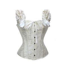 MUKA Elegant White Overbust Corset With Shoulder Straps #Muka #corset