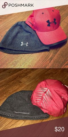 🆕Under Armour heat/cold gear hats Red cap is adjustable and has reflective detailing on the back. Gray beanie has CGI warming fleece. New without tags Under Armour Accessories Hats