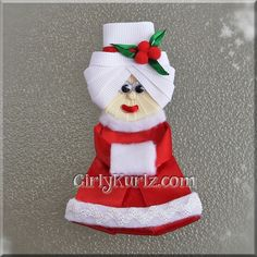 Mrs. Claus Hair Clip 1 by GirlyKurlz.com ❤️