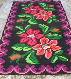 Antique hand woven Romanian kilim carpet rug from by RealRomania Wool Carpet, Rugs On Carpet, Red Carpet, Folk, Tapestry Weaving, Rug Hooking, Cross Stitch Embroidery, Decoration, Carpet Runner