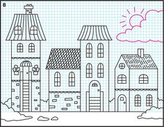 Draw a Winter Town Tutorial – Art Projects for Kids: step by step instructions