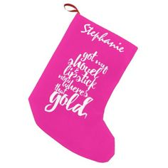 Girly Pink Gold Digger Typography Small Christmas Stocking