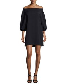 Off-the-Shoulder+Woven+Mini+Dress,+Black+by+Tibi+at+Neiman+Marcus.