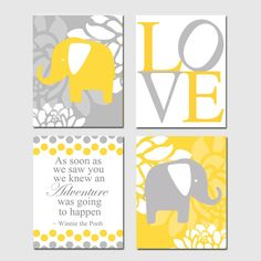 Modern Elephant Love Quad - Winnie the Pooh Adventure Quote