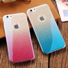 Thời trang màu xanh ray gradient ánh sáng màu bling bột skin rõ ràng tpu case cho apple iphone 6 4.7 6 s 7 cộng với 5.5 6 s cộng với mềm bìa