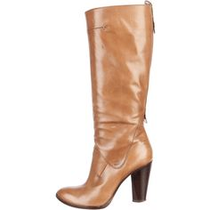 Pre-owned Costume National Knee-High Boots ($220) ❤ liked on Polyvore featuring shoes, boots, brown, real leather boots, real leather knee high boots, leather knee boots, brown leather knee high boots and genuine leather boots